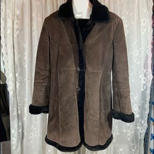Marvin Richards Brown Suede Leather Frock coat